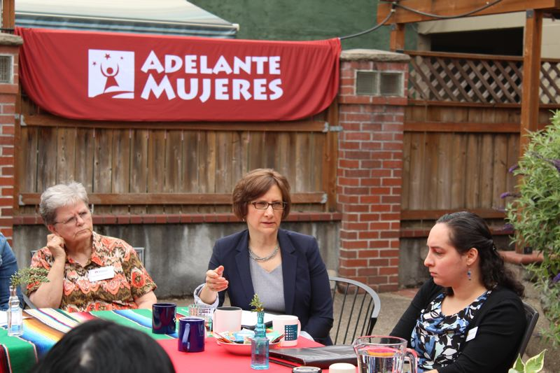 STAFF PHOTO: OLIVIA SINGER - Local leaders from Adelante Mujeres, Virginia Garcia Memorial Health Center, Unite Oregon, Bienestar and Unidos Bridging Community joined in on Monday's conversation.
