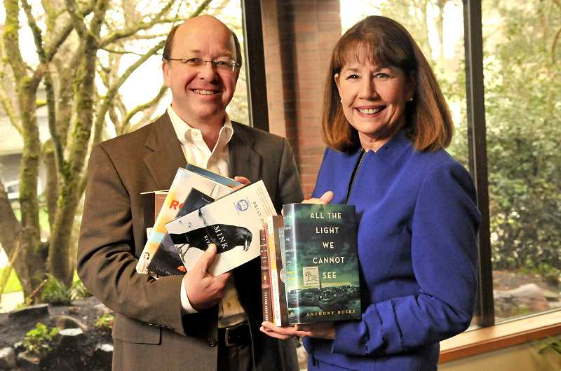 REVIEW PHOTO: VERN UYETAKE - Library Director Bill Baars and Cyndie Glazer, the library's coordinator of programs and volunteer services, were instrumental in launching Lake Oswego Reads, the city-wide book club-of-sorts that celebrates the joys of reading together.