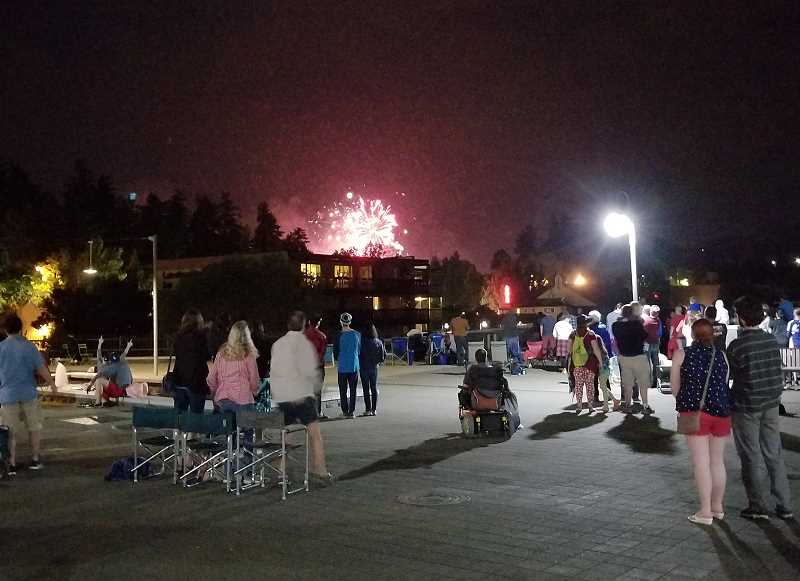 REVIEW PHOTO: ANTHONY MACUK - Viewers at Millennium Plaza Park found that trees and the roof of the Lakeshore Inn obscured their view of most of the City-sponsored Fourth of July fireworks.
