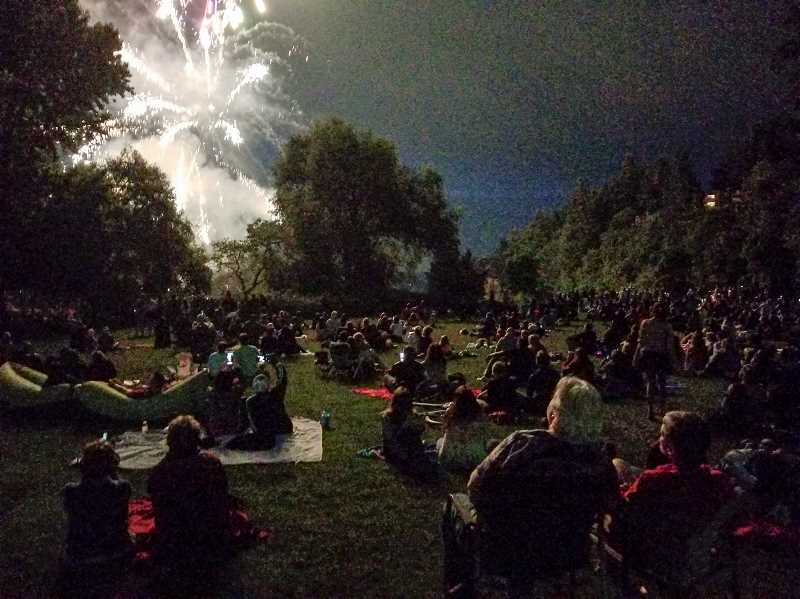 REVIEW PHOTO: ANTHONY MACUK - Viewers at lower George Rogers Park near the iron furnace were able to see the entire Fourth of July show, but the venue is small and the idea behind a downtown show was to create more viewing spaces.