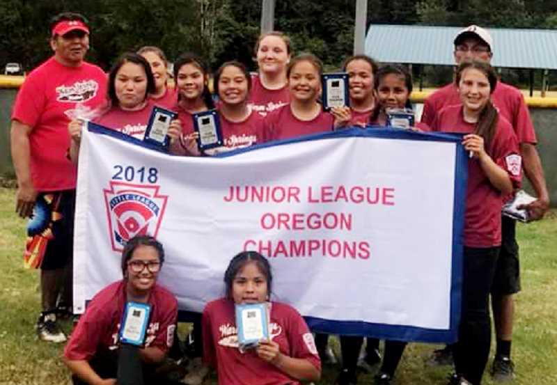 SUBMITTED PHOTO - The Warm Springs Nation junior softball team won state, on June 30- July 6.