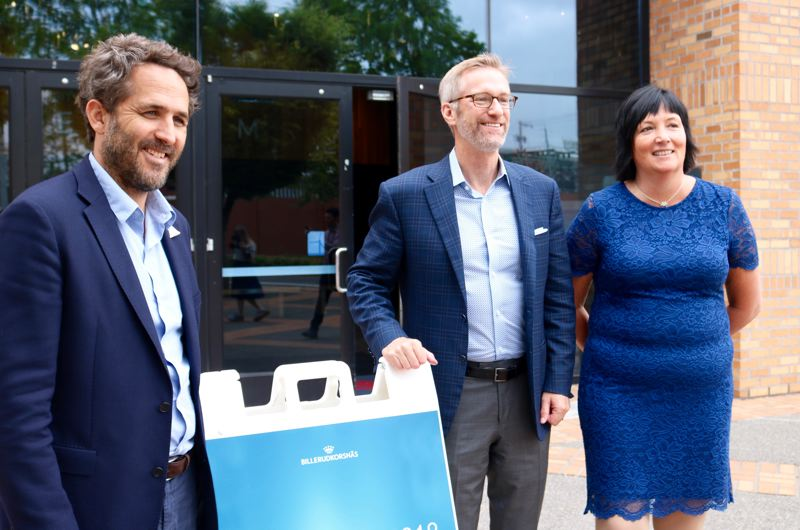 TRIBUNE PHOTO: ZANE SPARLING - FROM LEFT: Tara Expeditions executive director Romain Trouble, Mayor Ted Wheeler and BillerudKorsnas CEO Petra Einarsson pose for a photo during the Solutions 2018 forum on Monday, July 9.