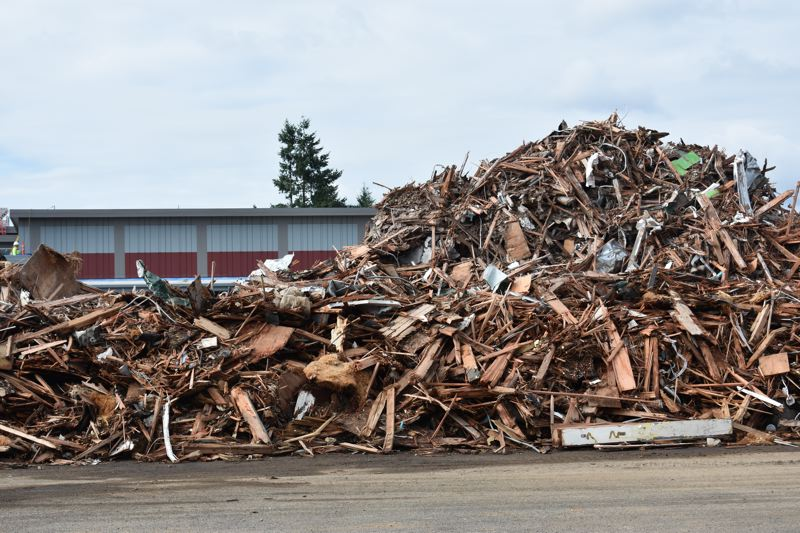 OUTLOOK PHOTO: TERESA CARSON - All that was left of Wilkes Elementary School on Tuesday, July 10, was a big pile of rubble.