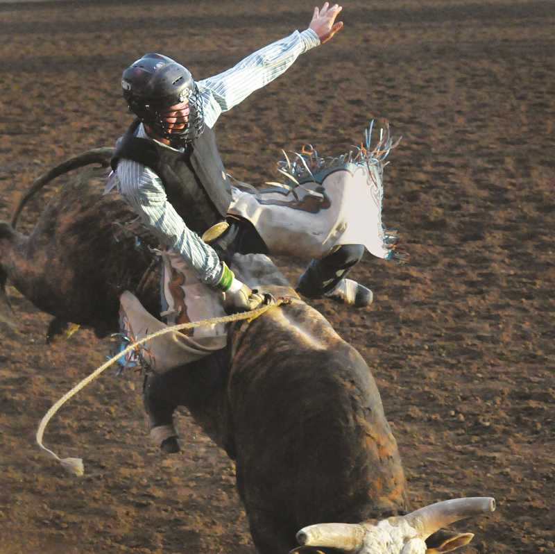 GARY ALLEN - A bullrider attempts to hang on during the St. Paul Rodeo. The bullriding winner from the rodeo was Stetson Wright, of Milford, Utah, racking up 91 points.