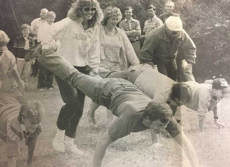 ARCHIVE PHOTO - During Estacada's Fourth of July festivities in 1988, Alan Hull triumphed in a wheelbarrow race at Timber Park.