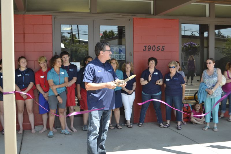 POST PHOTO: BRITTANY ALLEN - Mayor Bill King did the honors of conducting a formal ribbon cutting for the reopened Olin Y. Bignall Aquatic Center on July 5.