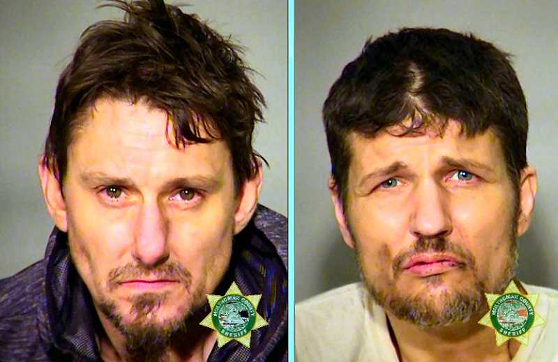 MCDC BOOKING PHOTOS - 42-year-old Dustin J. Fink, left, and 43-year-old Carlo J. Celestine are in the Multnomah County Jail after being arrested at a reported drug house on S.E. 21st Avenue near Powell Boulevard.