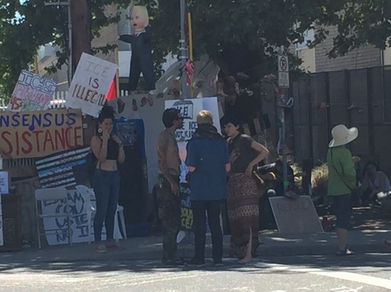KOIN 6 NEWS - Protesters outside the ICE facility.