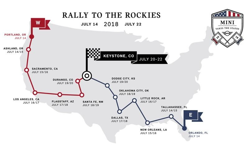 CONTRIBUTED - The route map for MINI Takes the States.