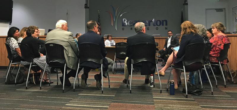 TIMES PHOTO: AINSLIE CROMAR - Business representatives and Oregon senators gathered to discuss methods of strengthening Oregon's public school system on Wednesday, July 11.
