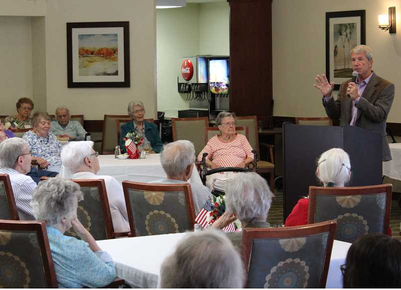 REVIEW PHOTO: ANTHONY MACUK - Rep. Kurt Schrader visited The Springs at Carman Oaks last week and took questions from residents about U.S. immigration policy, the upcoming elections, Social Security and other federal programs.