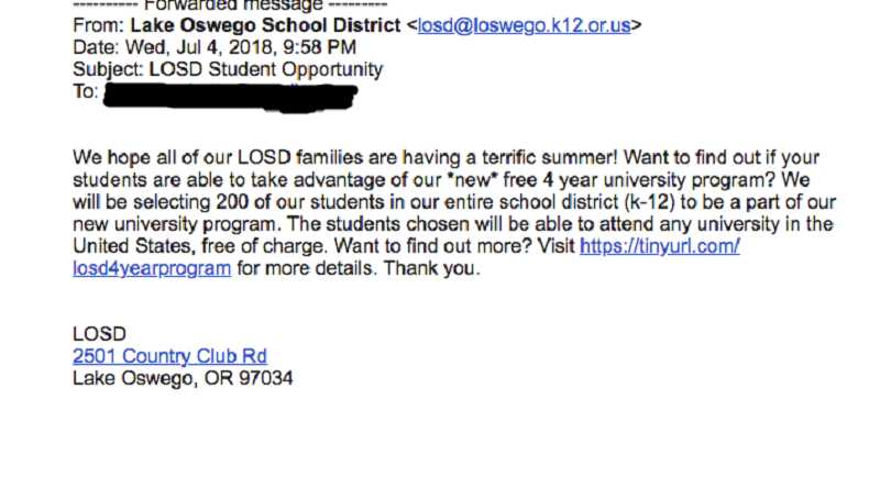An email that purported to come from the Lake Oswego School District last week was actually a phishing expedition by scammers.
