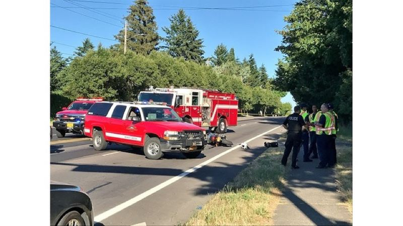 CONTRIBUTED PHOTO: KOIN 6 NEWS - A fatal crash left a motorcyclist dead in Gresham Wednesday afternoon, July 11.