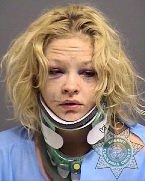CCSO - Savannah Lee Perry was the driver and sole survivor of a crash on Dryland Road Tuesday morning. After being treated, she was booked into Clackamas County Jail for possession of heroin, apparently unrelated to the crash.