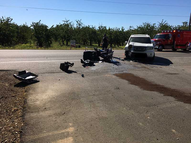 COURTESY PHOTO: MCSO - A motorcyclist died Thursday morning in a crash on River Road in Brooks.