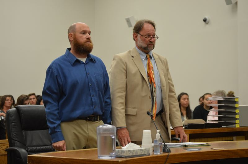 SPOTLIGHT PHOTO: NICOLE THILL-PACHECO - Kyle Jarred Wroblewski, left, with his lawyer David McDonald, a Vancouver-based criminal defense lawyer, appears at the Columbia County Courthouse on Monday, July 9.