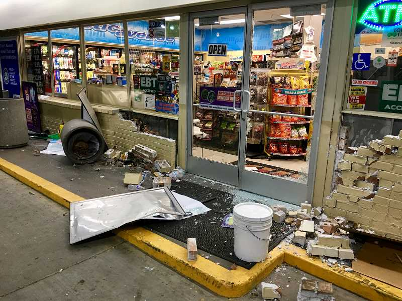 COURTESY WCSO - Authorities say a pickup truck crashed into an ARCO gas station and struck an employee on Thursday, July 12, 2018