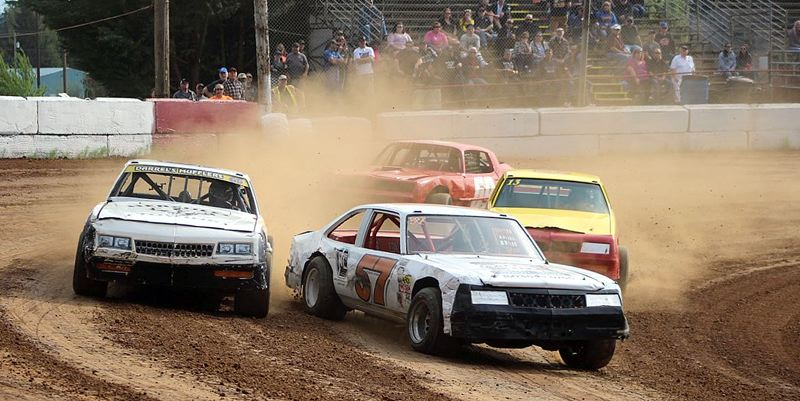 COURTESY COLUMBIA COUNTY RACING ASSOCIATION - Driver Tom Zywicki (center, No. 57) currently sits in fourth place in the Street Stock Division standings, trailing just Greg Brumbaugh/Joel Beehler, Trevor Lively, and Terry King/Broc Ross.
