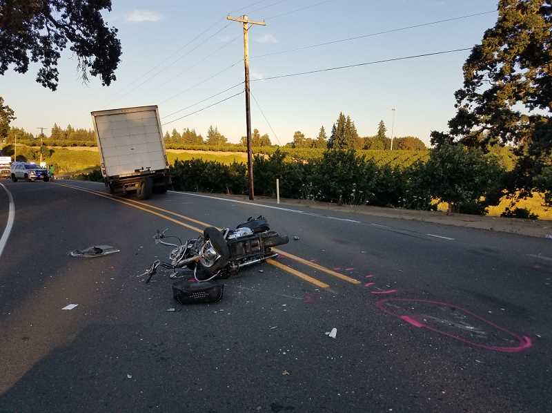 COURTESY PHOTO: OREGON STATE POLICE - A motorcycle on Highway 219 swerved into oncoming traffic Thursday evening, resulting in the death of the driver.