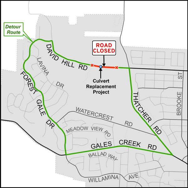 COURTESY MAP: WASHINGTON COUNTY DEPARTMENT OF LAND USE & TRANSPORTATION - A detour route (marked in green) will be set up in Forest Grove while a segment of Northwest David Hill Road (marked in red) is undergoing construction work.