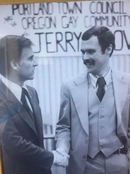 COURTESY WELLER ESTATE - Jerry Weller poses with Jerry Brown at a Portland Town Council event in the late 1970s during Brown's first term as governor of California.