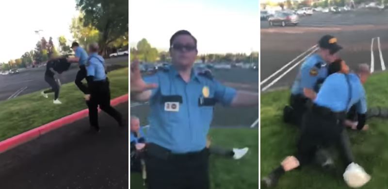 (Image is Clickable Link) YOUTUBE PHOTOS - Three screenshots from a cell phone video show Vancouver Mall cops detaining Mykel Mosley on May 11 following an altercation with members of the Proud Boys.