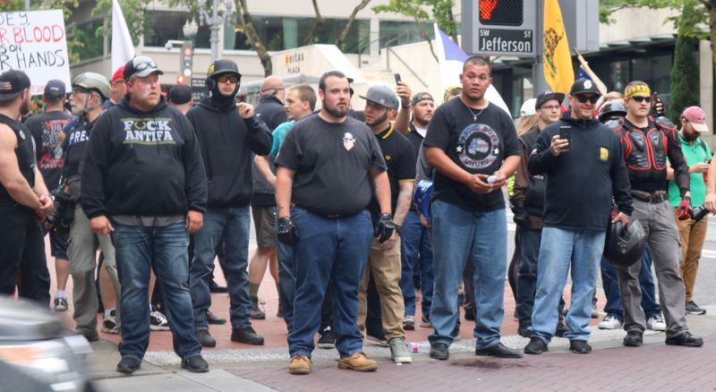 TRIBUNE PHOTO: ZANE SPARLING - Members of the Proud Boys and Patriot Prayer marched in downtown Portland on June 3.