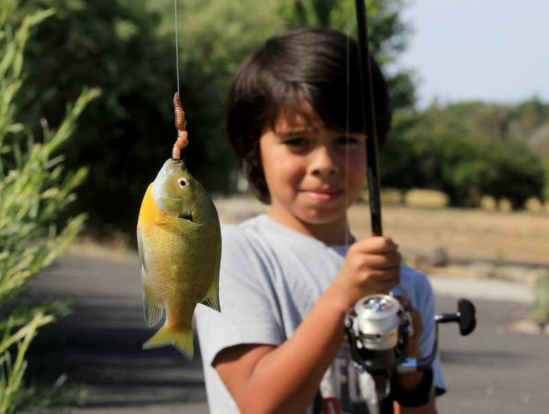 STEELE HAUGEN - Kids Club member and first time fisherman Bradley Wahneta holds up his first fish ever caught.