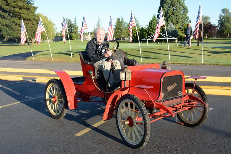 COURTESY PHOTO: WOODBURN ESTATES & GOLF - Don Blatchford, pictured with his 1902 Kenmore Model A, won the Survivor category at the 2018 Woodburn Estates & Golf Show and Shine Car Show on Saturday.