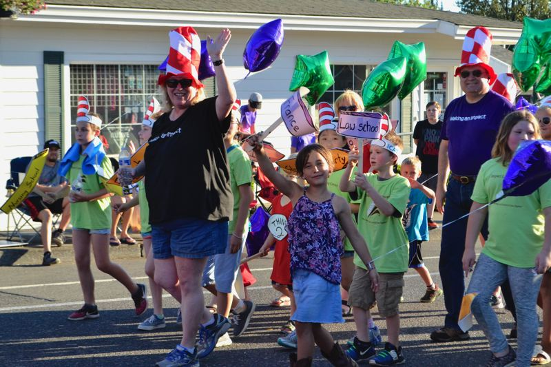 POST PHOTO: BRITTANY ALLEN - Impact Learning Center was one of several groups to play on the Dr. Seuss-related theme of the Sandy Mountain Festival parade this year.