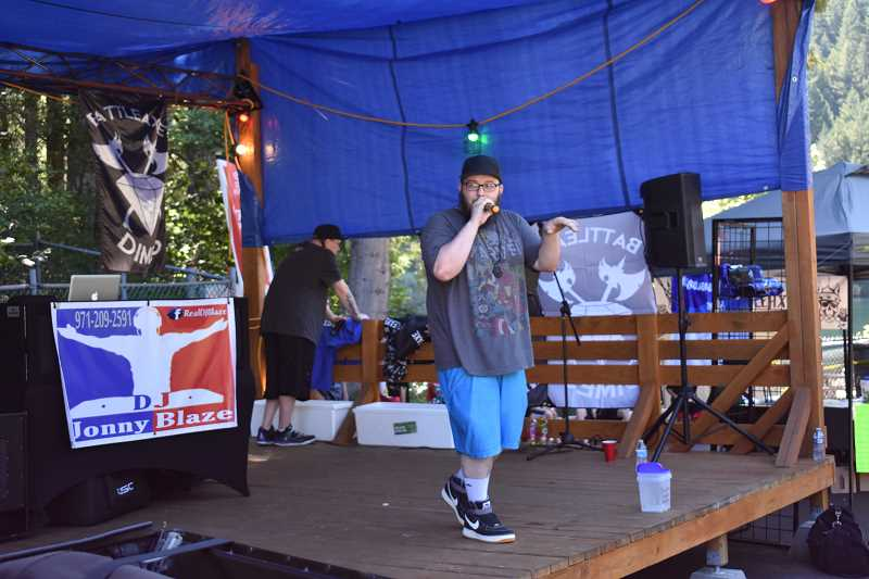 ESTACADA NEWS PHOTO: EMILY LINDSTRAND - ThatKidCry performs during DJ Jonny Blazes River Hip Hop Fest on Saturday, July 14, at Promontory Park Marina.