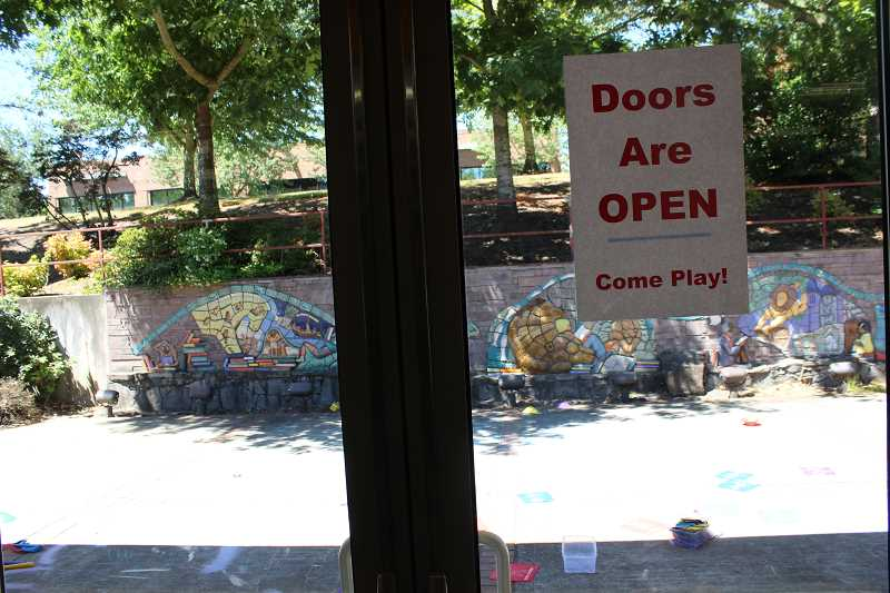 SPOKESMAN PHOTO: COREY BUCHANAN - The Library added a door from the childrens room to the patio during the rennovation.