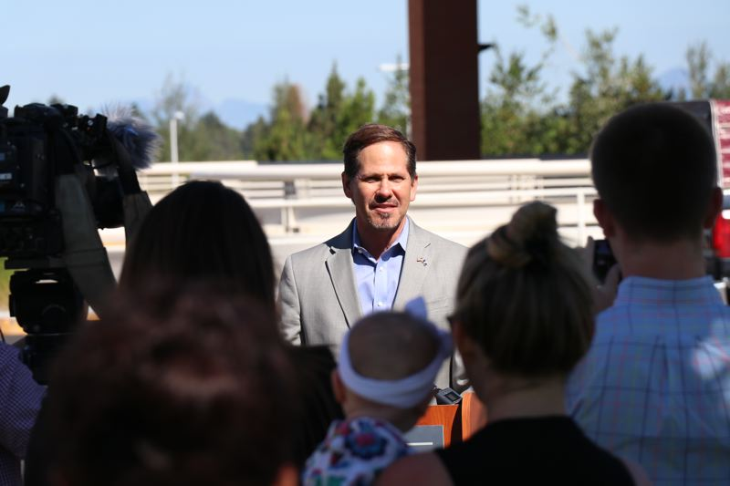 COURTESY PHOTO - Rep. Knute Buehler, GOP nominee for governor, unveils his health care platform Wednesday, July 18, during a news conference in Bend.