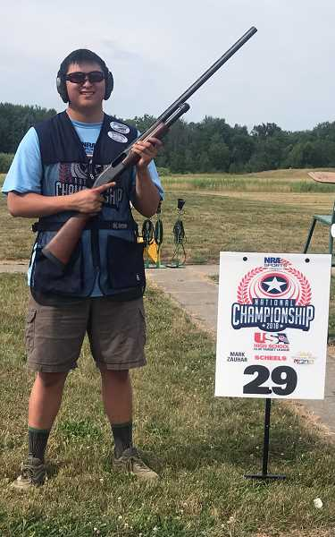 SUBMITTED PHOTO: TODD TOLBOE - Wilsonvilles lone shooter at the national trap shooting competition, Cameron Welch, at a practice range.