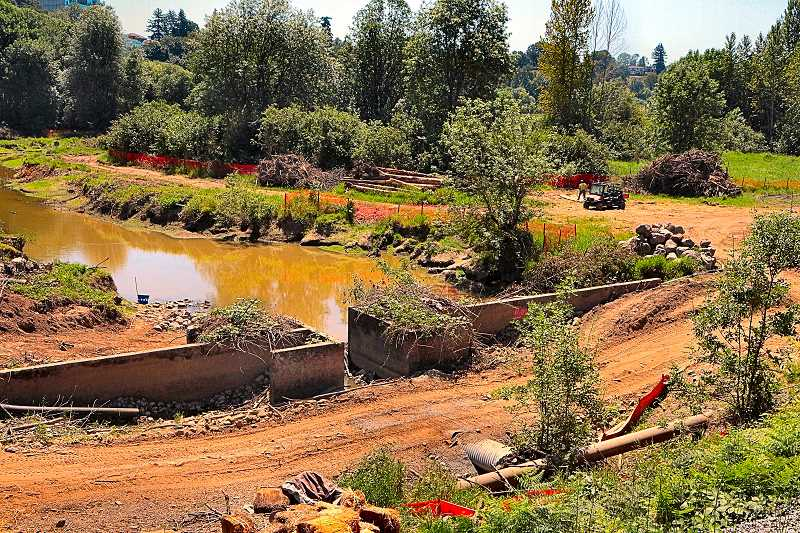 DAVID F. ASHTON - The current limited water passage between Oaks Bottom and the Willamette River has been blocked by coffer dams while construction got underway. The new much-wider culvert to better connect the lagoon to the river will be located a couple yards to the left of where you see the current pipes opening.