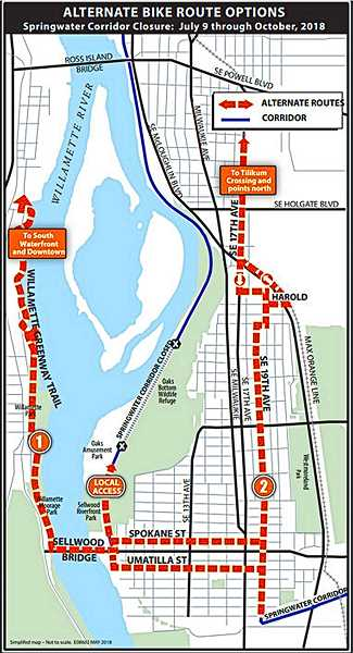 COURTESY OF PBOT - Here's the city's map of recommended detour bike routes on which to bypass the closed section of the Springwater Trail in Oaks Bottom. Although not shown on this map, Milwaukie Avenue has also been restriped from Insley to Mitchell Streets to allow cyclists to leave this detour to return to the Springwater Trail via the parking lot on the west side of Milwaukie at Mitchell.