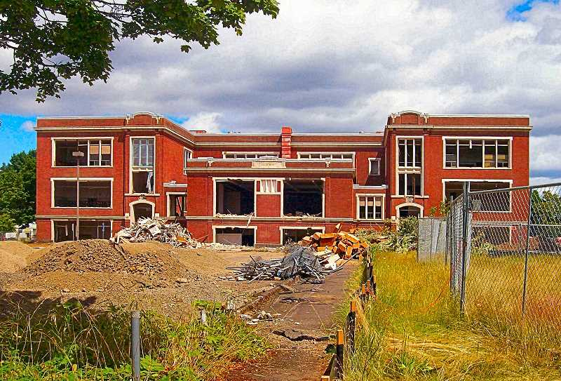 RITA A. LEONARD - Only a shell remained in July of Powell Boulevards venerable Kellogg Middle School - being demolished to clear the way for a replacement school to be built on the site next year.