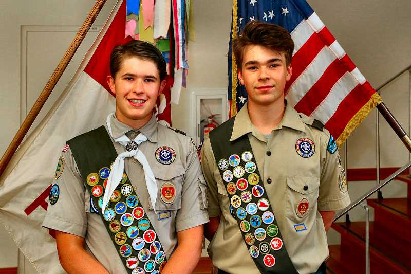 DAVID F. ASHTON - Meet the two newest Eagle Scouts in Westmorelands Boy Scout Troop 64: Luca Gregston of Cleveland High, left, and Ryan Cechini of LaSalle High School.