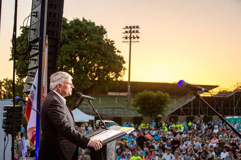COURTESY PHOTO: BILLY GRAHAM EVANGELISTIC ASSOCIATION - Franklin Graham shares a message during the sixth stop of the Decision America California Tour in Modesto on May 30.