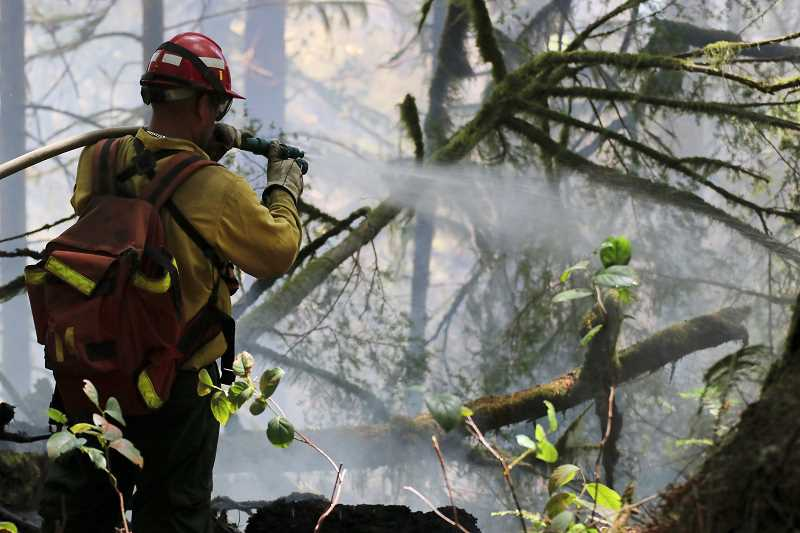 COURTESY PHOTO: OREGON STATE PARKS AND RECREATION - Firefighters fight the Silver Falls State Park fire.