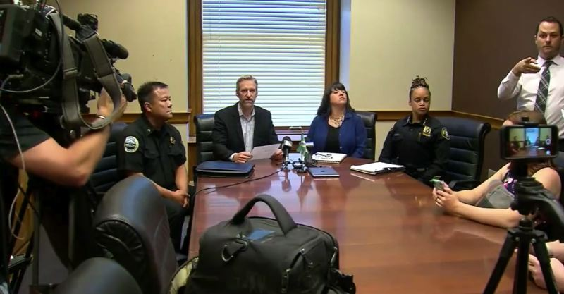 (Image is Clickable Link) COURTESY KOIN 6 NEWS  - Mayor Ted Wheeler speaks at a press conference at City Hall regarding Occupy ICE on Monday, July 23.