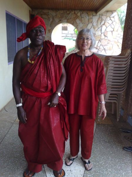 COURTESY: SUSAN ADDY - Obo Addy (left) and Susan Addy dressed up for the Homowo Festival in Ghana, West Africa. Homowo is a harvest festival that the Obo Addy Legacy Project recreated in Portland and hosted for 15 years.