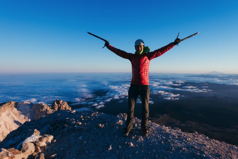 COURTESY: COLIN O'BRADY - Colin O'Brady, a Portland resident and Lincoln High graduate, continues to push himself through tremendous achievements, the latest being climbing peaks in all 50 states, culminating atop Mount Hood (above). Says wife Jenna Besaw: 'Colin is definitely always trying to push his body.'