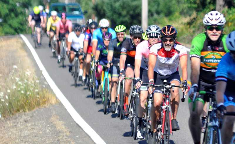 SPOKESMAN PHOTOS: LESLIE HOLE - About 50 riders participated in the inaugural Salmon Cycling Classic.