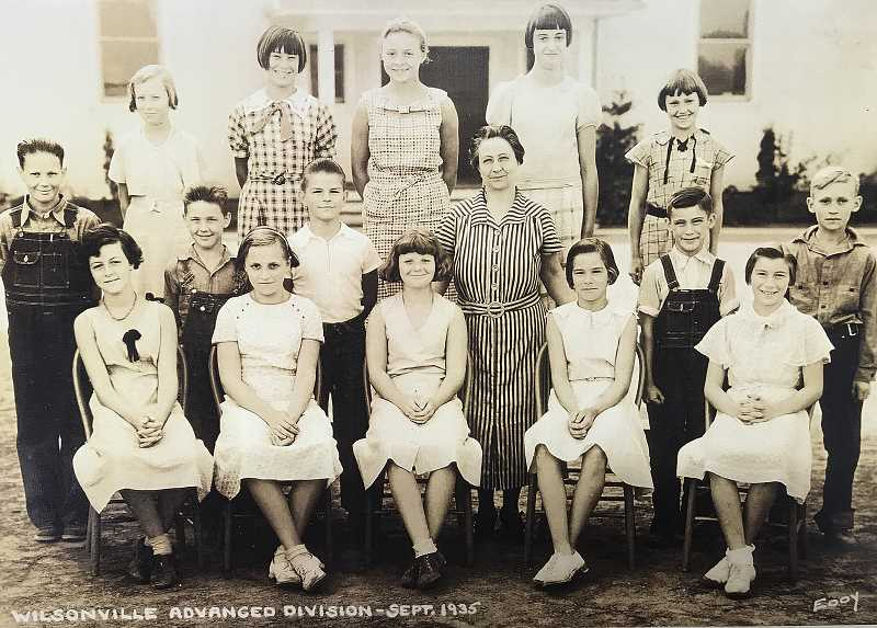 PHOTO COURTESY WILSONVILLE BOONES FERRY HISTORICAL SOCIETY - Before recent commercial and industrial development, Wilsonville was mostly an agricultural community, a fact made clear in this 1935 class photo in which more than half of the boys wear overalls.