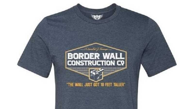 COURTESY PHOTO - The shirt contained a slogan from President Trump's stump speeches, calling for a wall between the U.S. and Mexico.