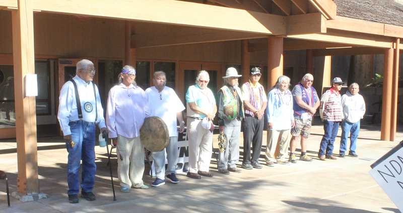 SUSAN MATHENY/MADRAS PIONEER - Members of the Elder Council held a prayer service at Kah-Nee-Ta Lodge Saturday morning.