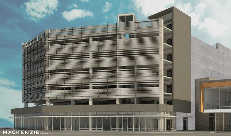 SCHEMATIC COURTESY BEAVERTON URBAN REDEVELOPMENT AGENCY - The seven-story parking garage proposed by the Beaverton Urban Redevelopment Agency next to the Patricia Reser Center for the Arts, at right. Both are scheduled to start construction in summer 2019.
