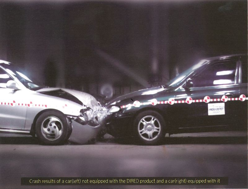IMAGE COURTESY OF DONGCHUN CO. LTD. - A graphic shows the difference in impact between two cars upon collision. the car on the right was equipped with a  DIRED bumper.