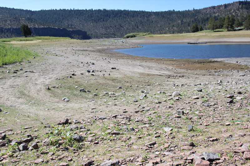 JASON CHANEY - The water level at Ochoco Reservoir has gone down considerably this summer.